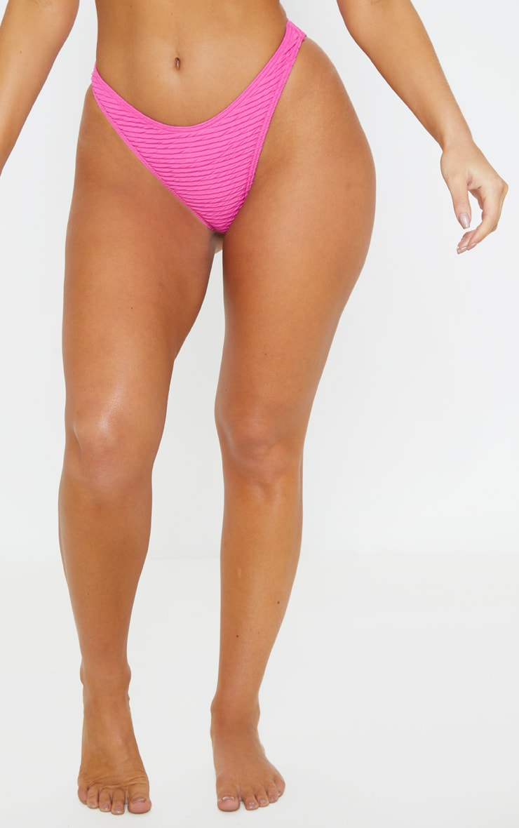 Fuchsia Textured High Leg Bikini Bottom 2