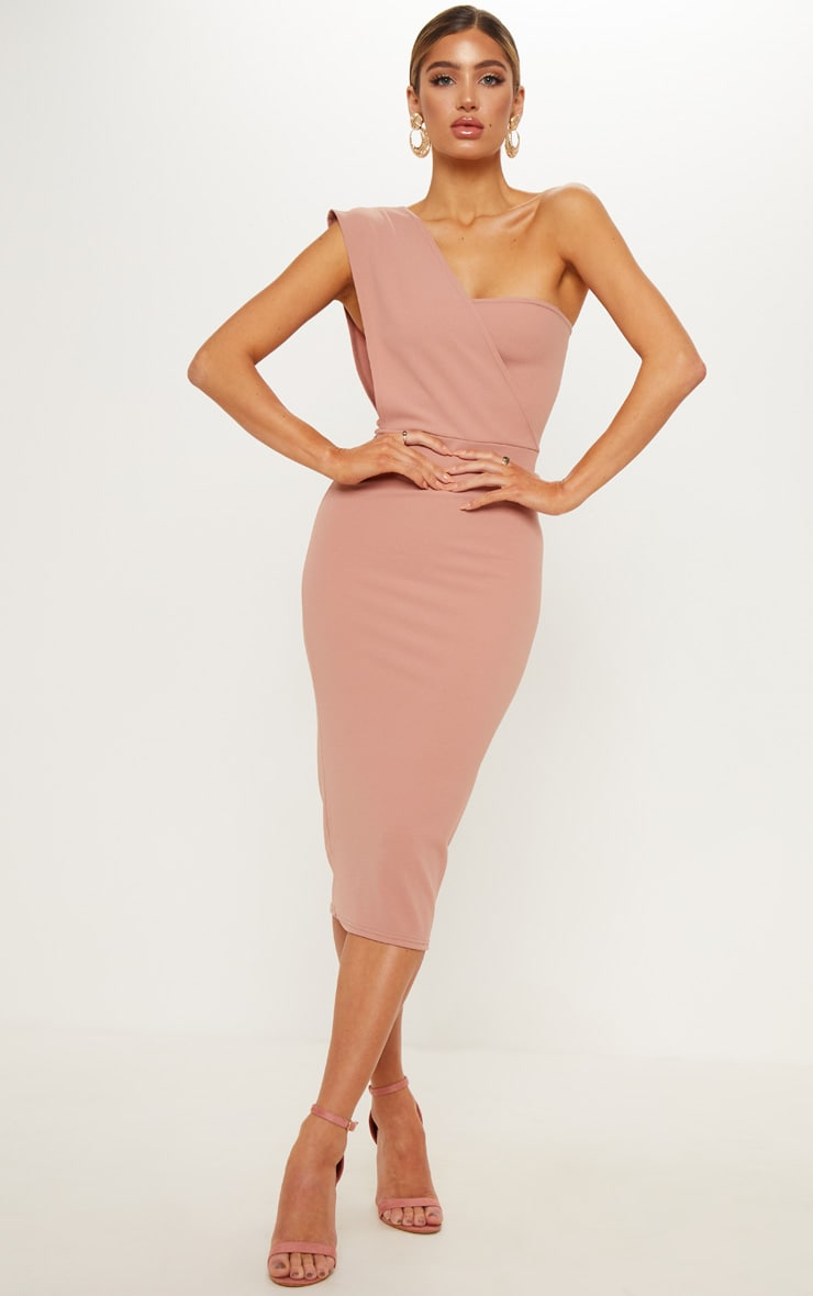 Dusty Pink One Shoulder Draped Midi Dress 1