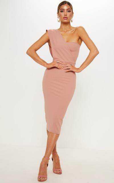 dd23906d5036 Dusty Pink One Shoulder Draped Midi Dress