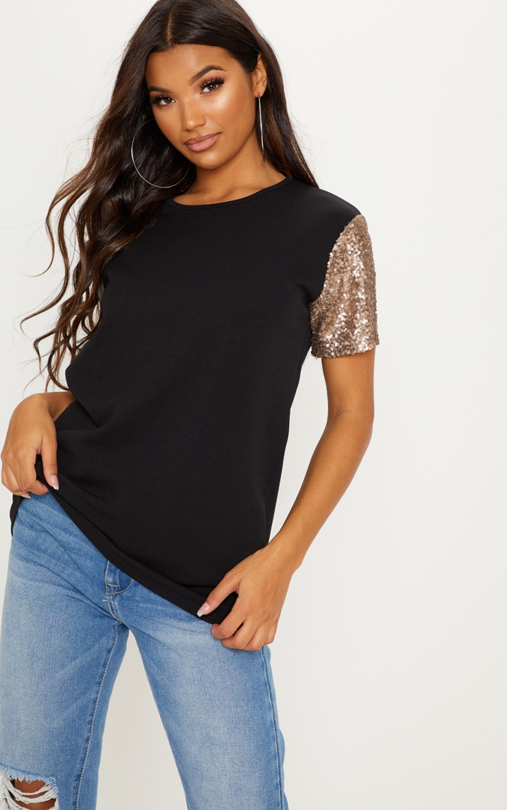 Black Sequin Sleeve Oversized T shirt 4