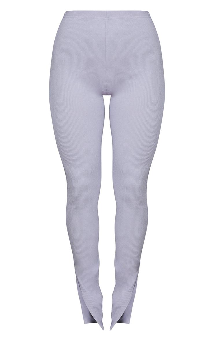 Grey Marl Textured Ribbed Split Hem Leggings 5