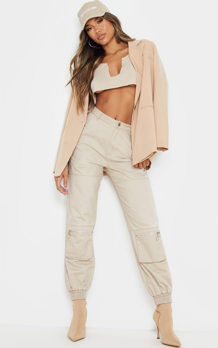 Basic Sand Jersey Deep V Raw Edge Crop Top 4