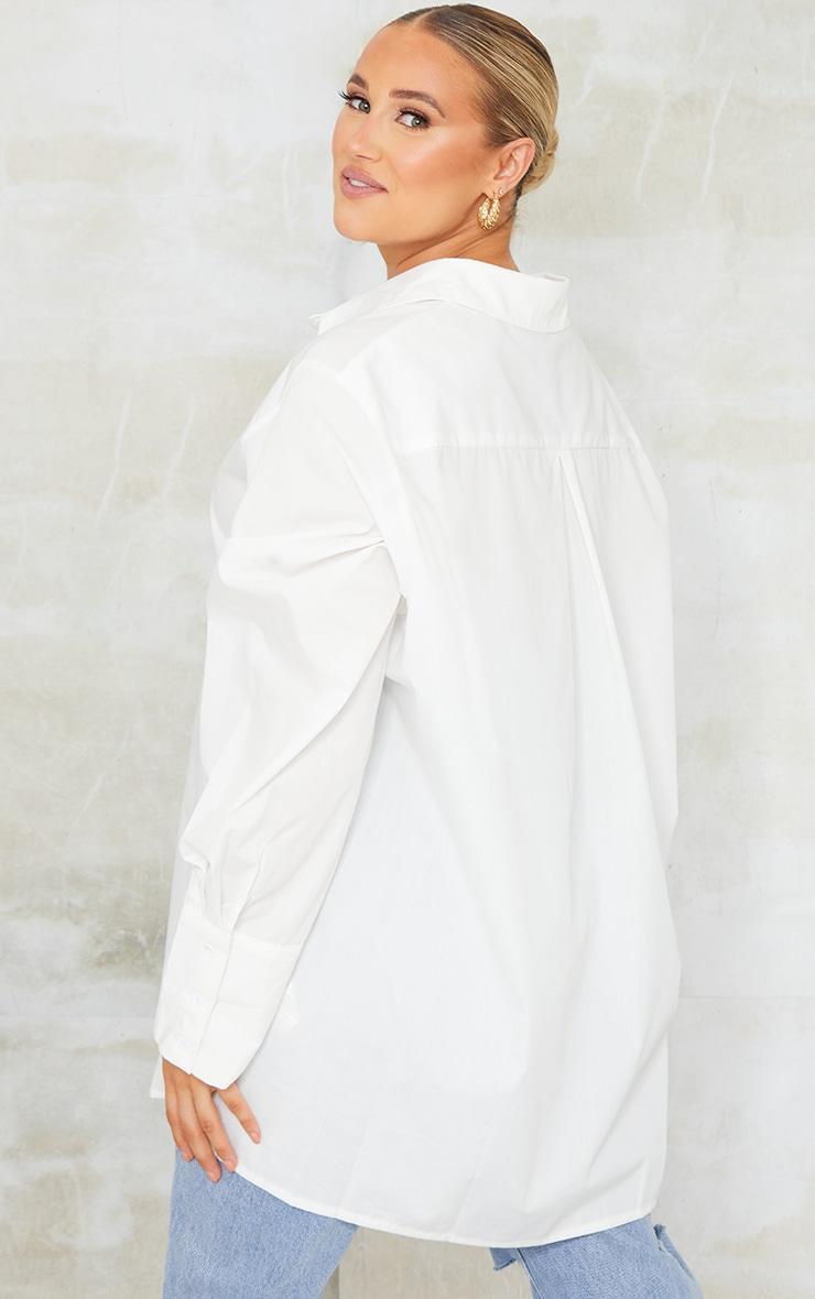 Maternity White Oversized Cuff Poplin Shirt 2
