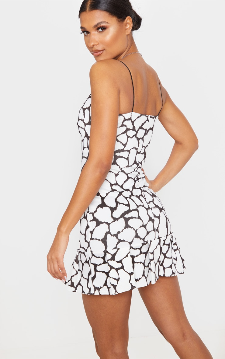 White Spot Print Scuba Frill Hem Bodycon Dress 2