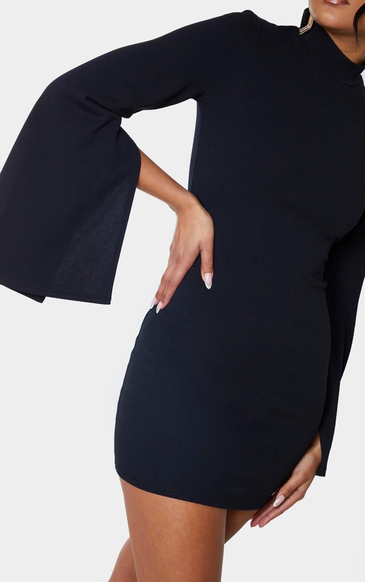 Black High Neck Flared Sleeve Bodycon Dress 4
