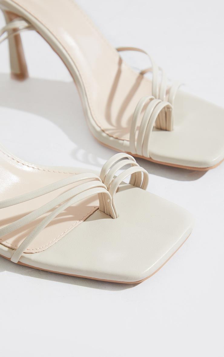 Cream Strappy Ankle Tie Heeled Sandals 4