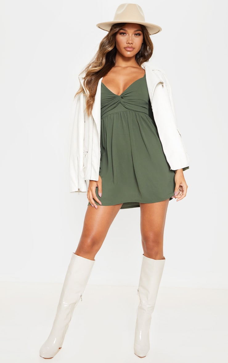 Khaki Twist Front Long Sleeve Square Neck Smock Dress 4