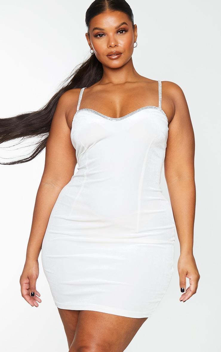 Plus White Velvet Diamante Trim Strappy Bodycon Dress 3