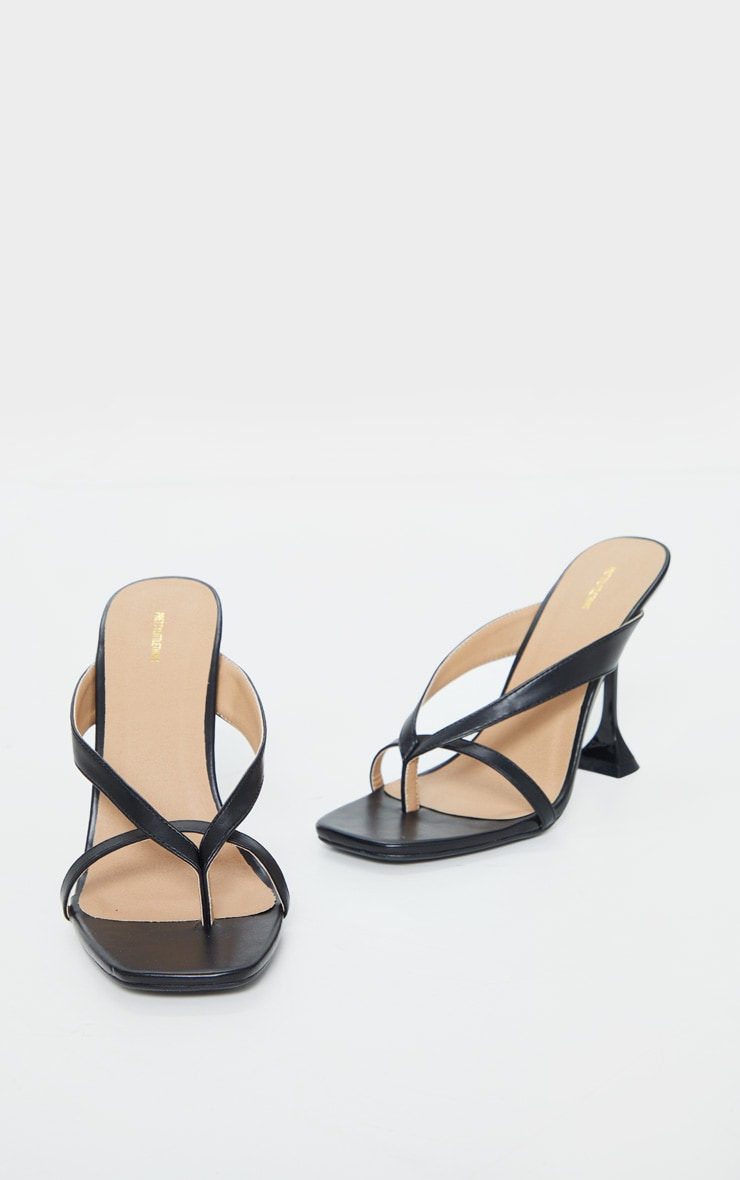 Black Cake Stand Toe Thong Strap Mule High Heels 3