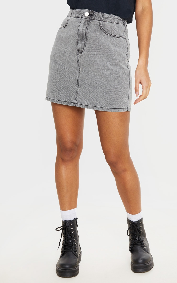 Washed Grey Ruched Waist Denim Skirt 2