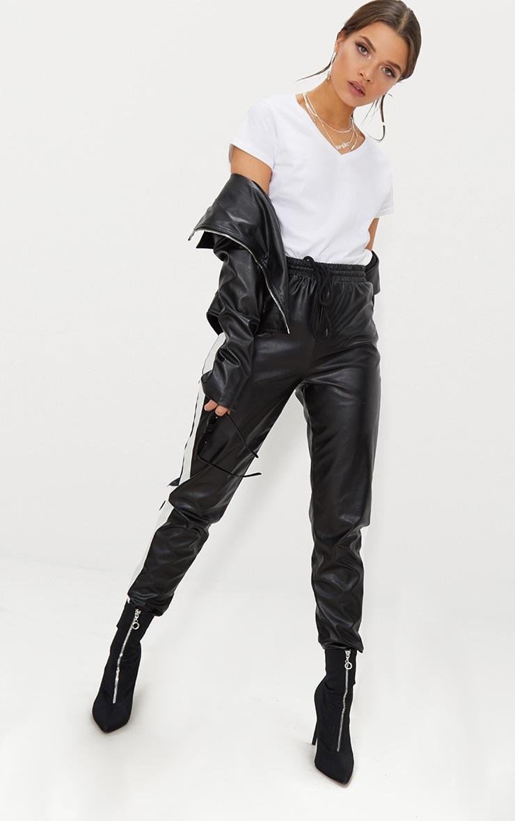 Basic White Fitted V Neck Jersey T Shirt 4
