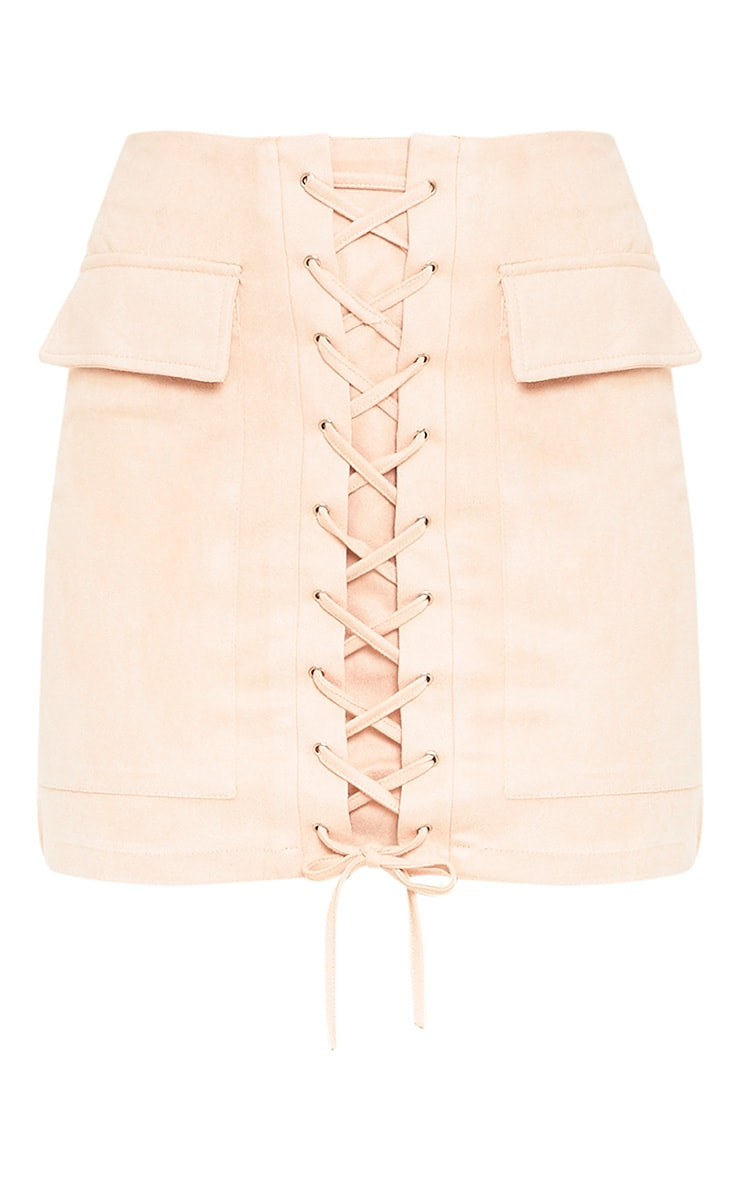 Ziva Blush Faux Suede Lace Up Mini Skirt 3