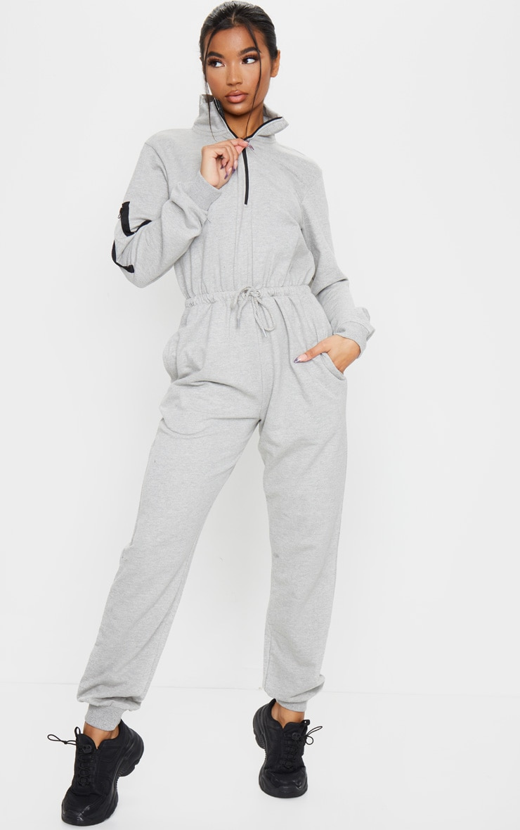 Grey Zip Detail Sweat Jumpsuit 1