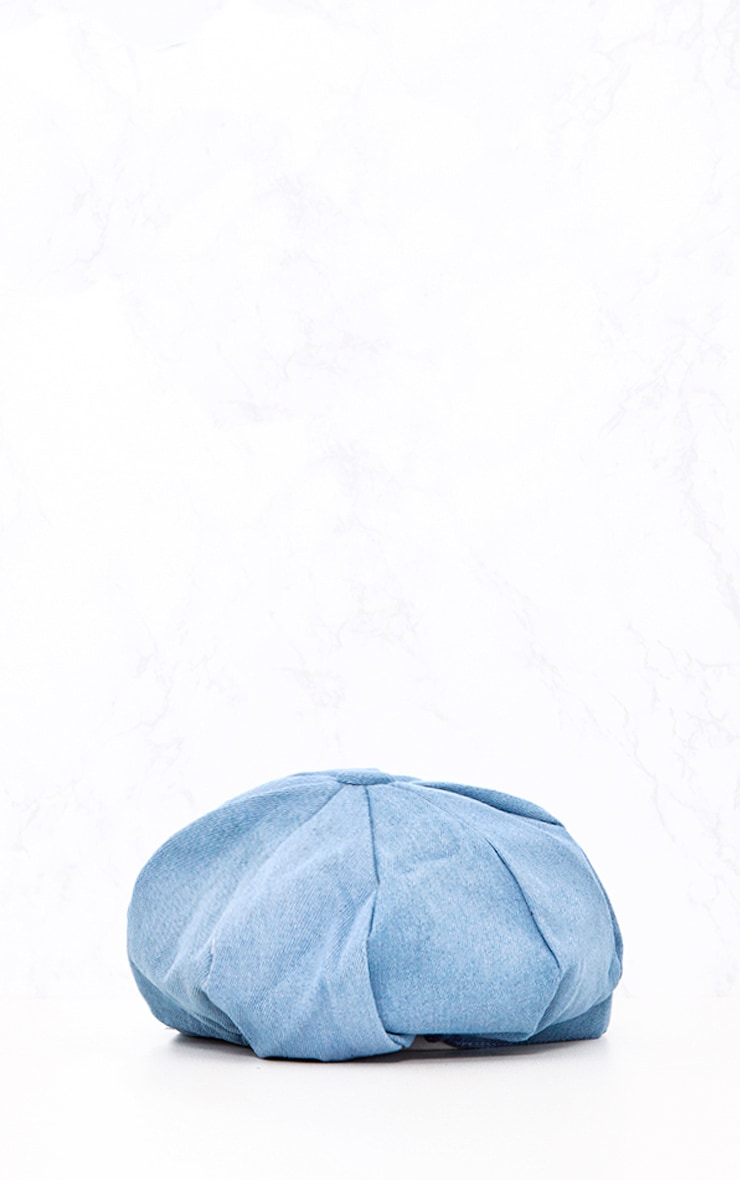Light Wash Denim Baker Boy Hat 5