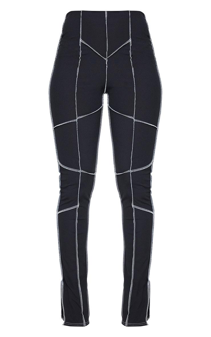 Black Rib Contrast Seam Detail Split Hem Skinny Trousers 5