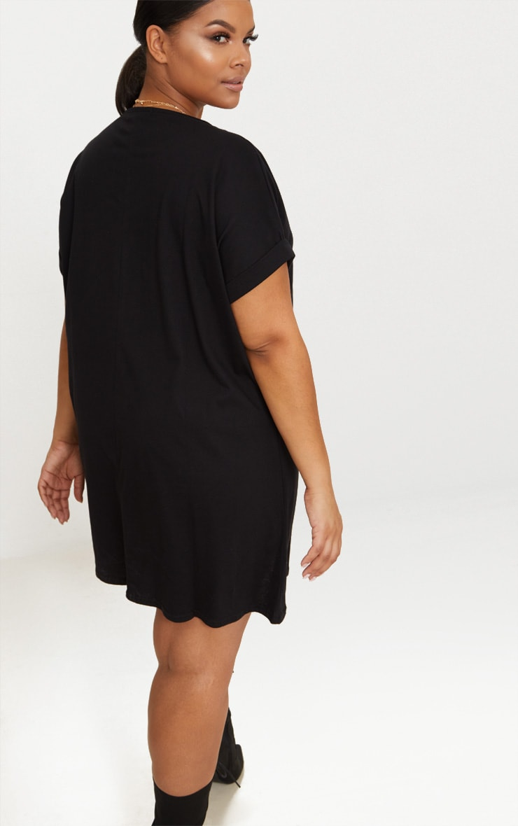 Plus Black Oversized Roll Sleeve T-Shirt Dress 2