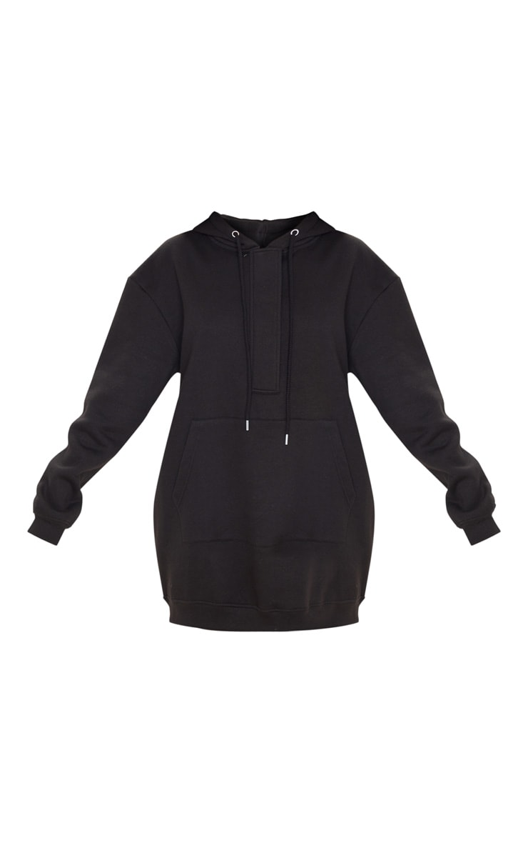 Black Oversized Pocket Front Hoodie Sweatshirt Dress 3