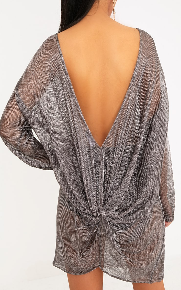 Judanna Pewter Scoop Back Sheer Knitted Mini Dress 4
