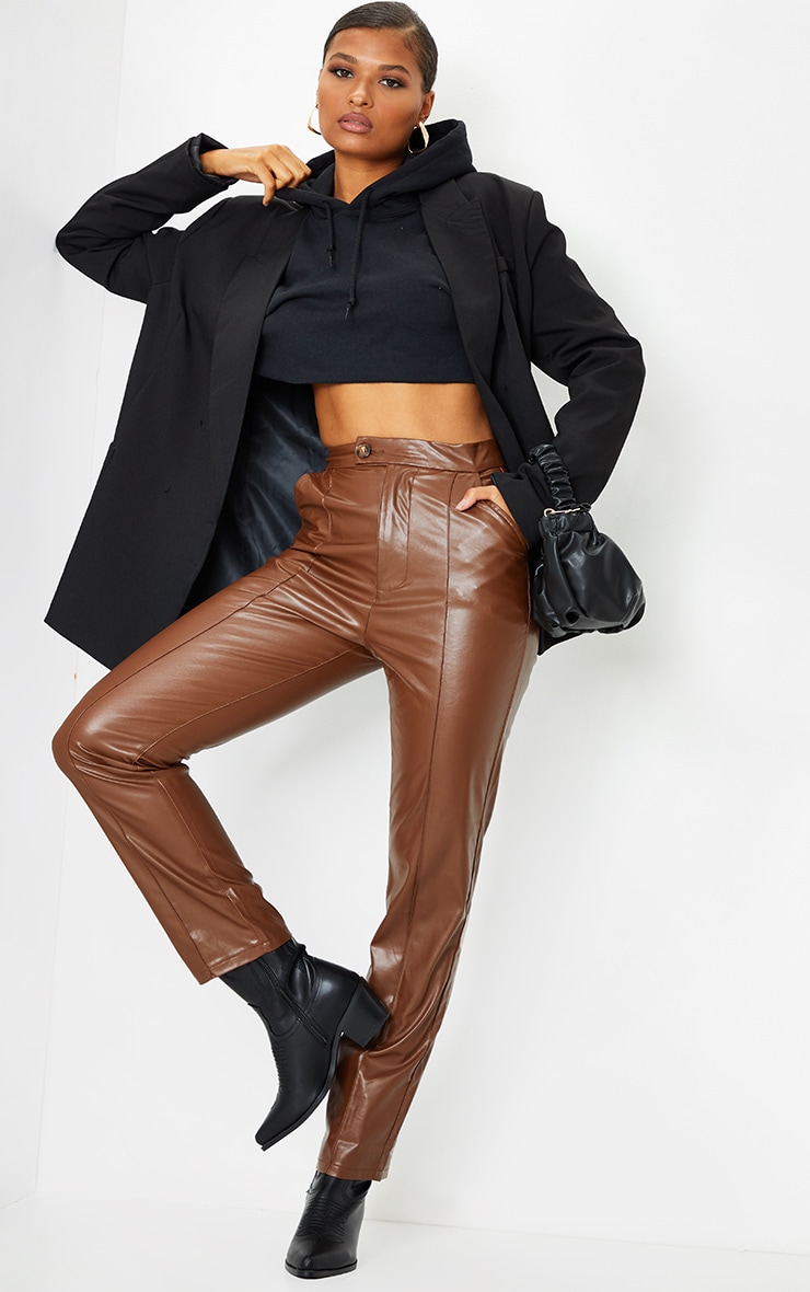 Chocolate Faux Leather Pintuck Detail Straight Leg Trousers 1