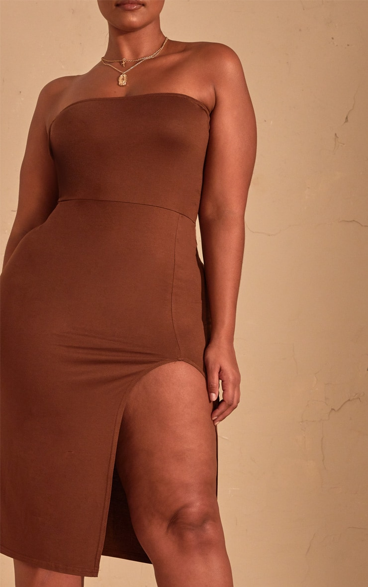 Plus Chocolate Brown Bandeau Split Front Midi Dress 5