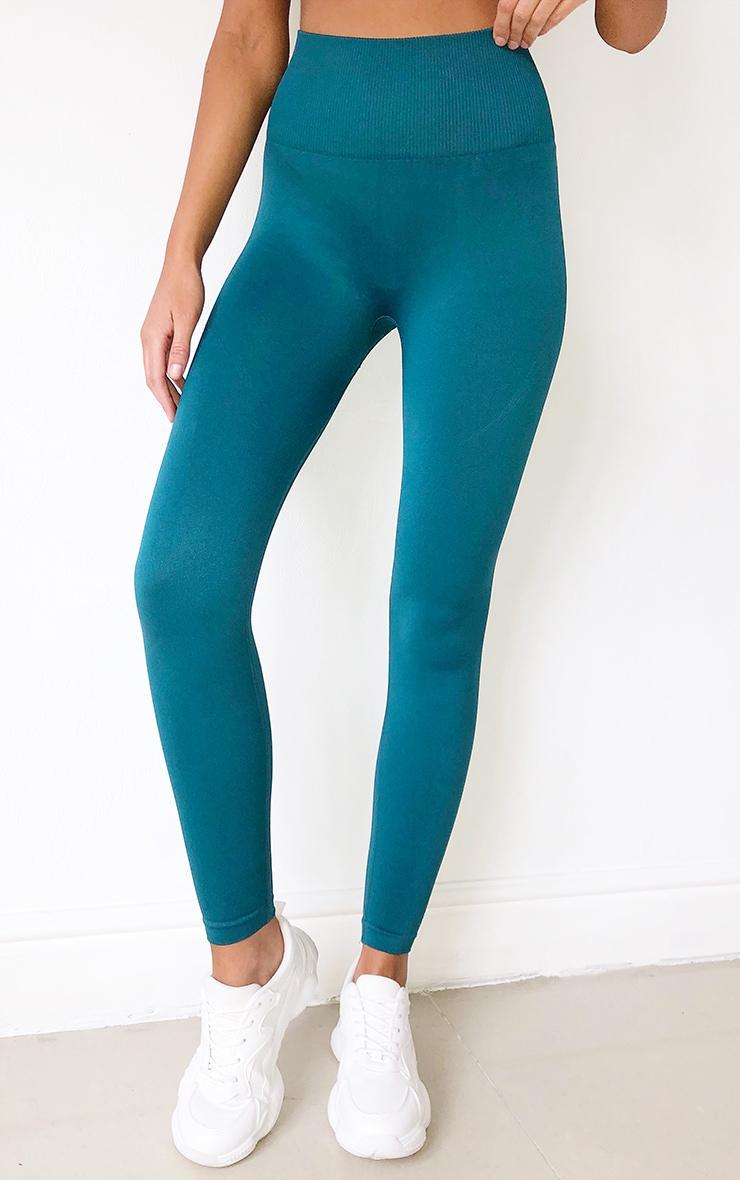 Emerald Green High Waist Seamless Gym Leggings 2