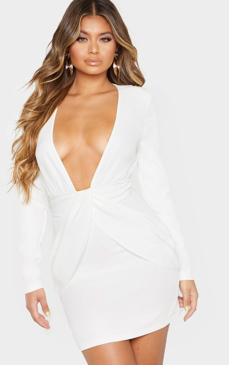 White Extreme Plunge Drape Detail Bodycon Dress 1