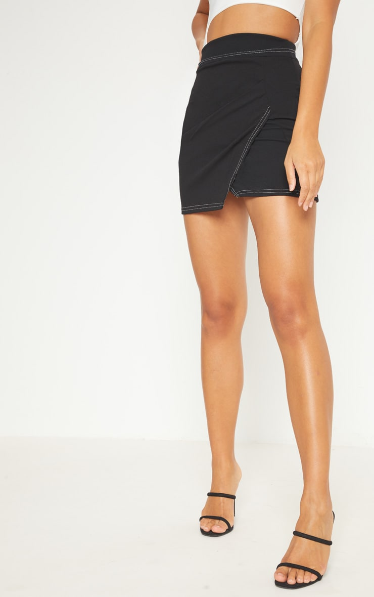 Black Contrast Stitch Wrap Front Mini Skirt 2