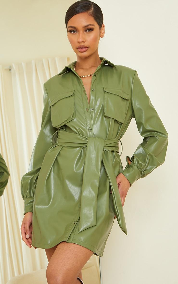 Khaki Faux Leather Pocket Detail Shirt Dress 1