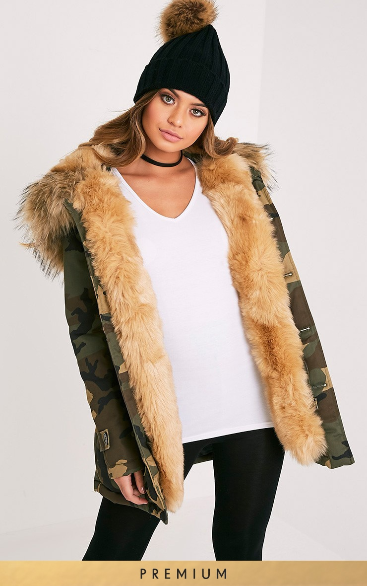 Fliss Beige Camo Faux Fur Lined Parka 1