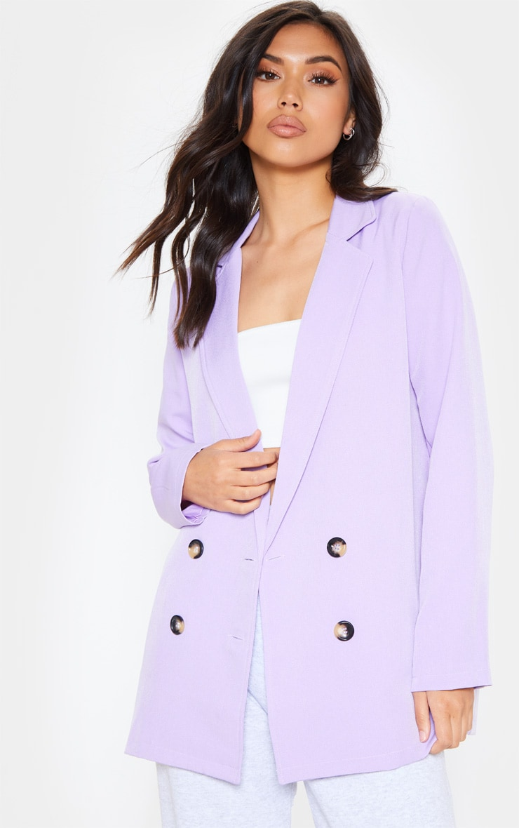Lilac Oversized Button Detail Woven Blazer 4