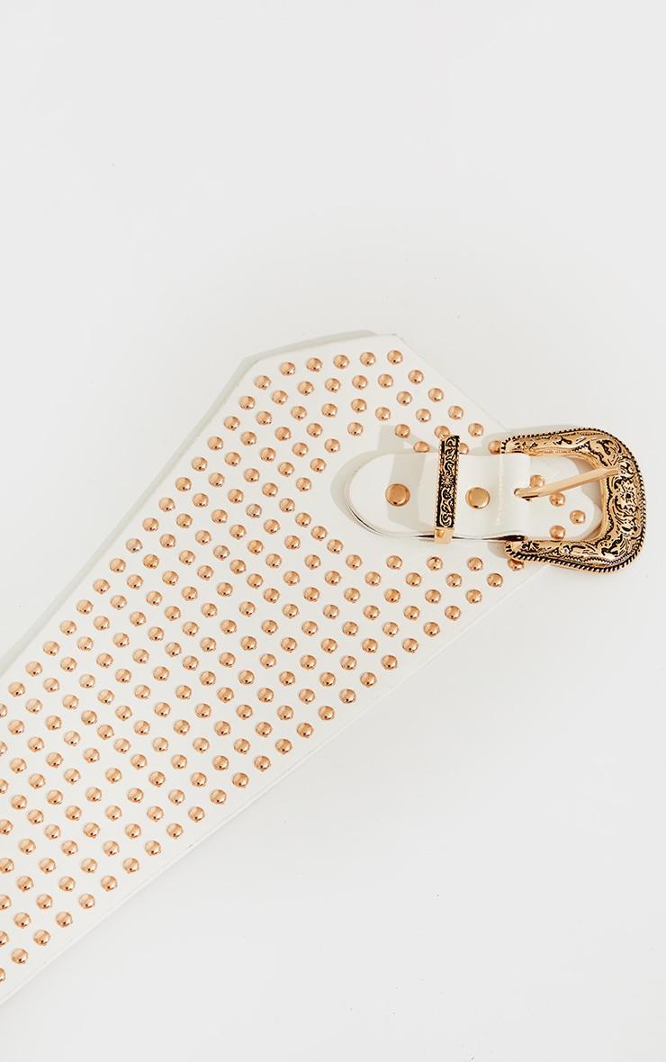 White PU Gold Studded Ornate Buckle Waist Belt 3