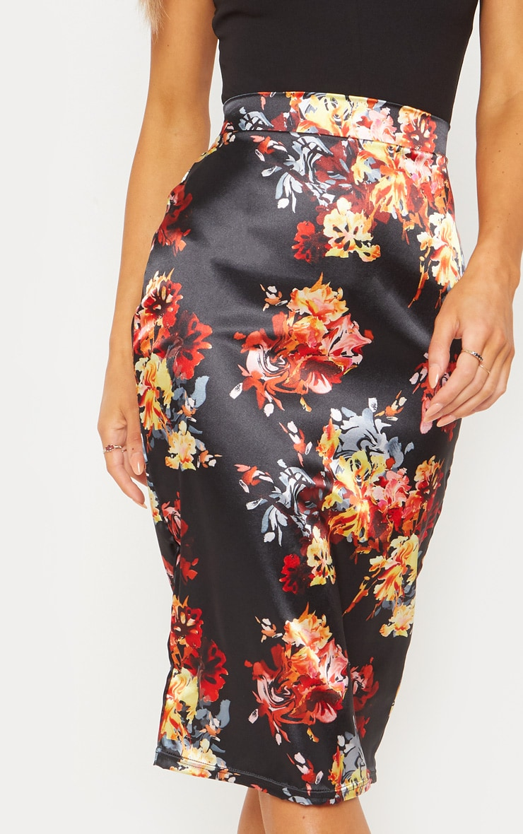 Black Satin Floral Print Pencil Skirt 5