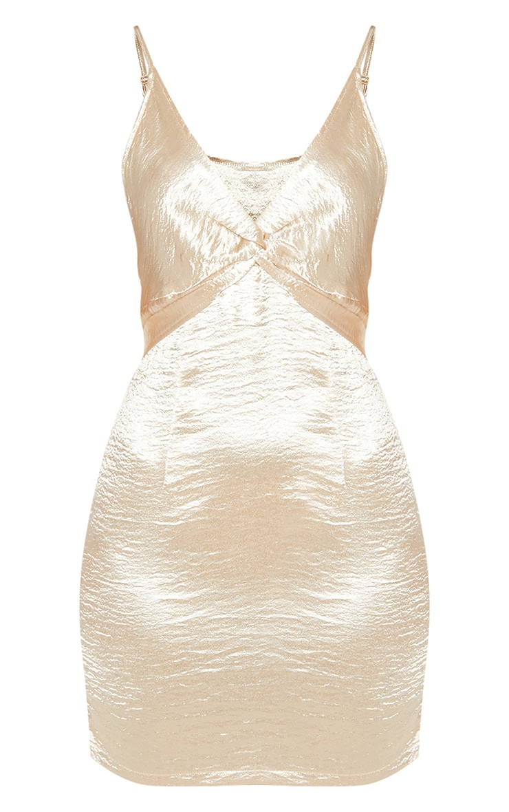 Champagne Satin Strappy Knot Detail Shift Dress 3