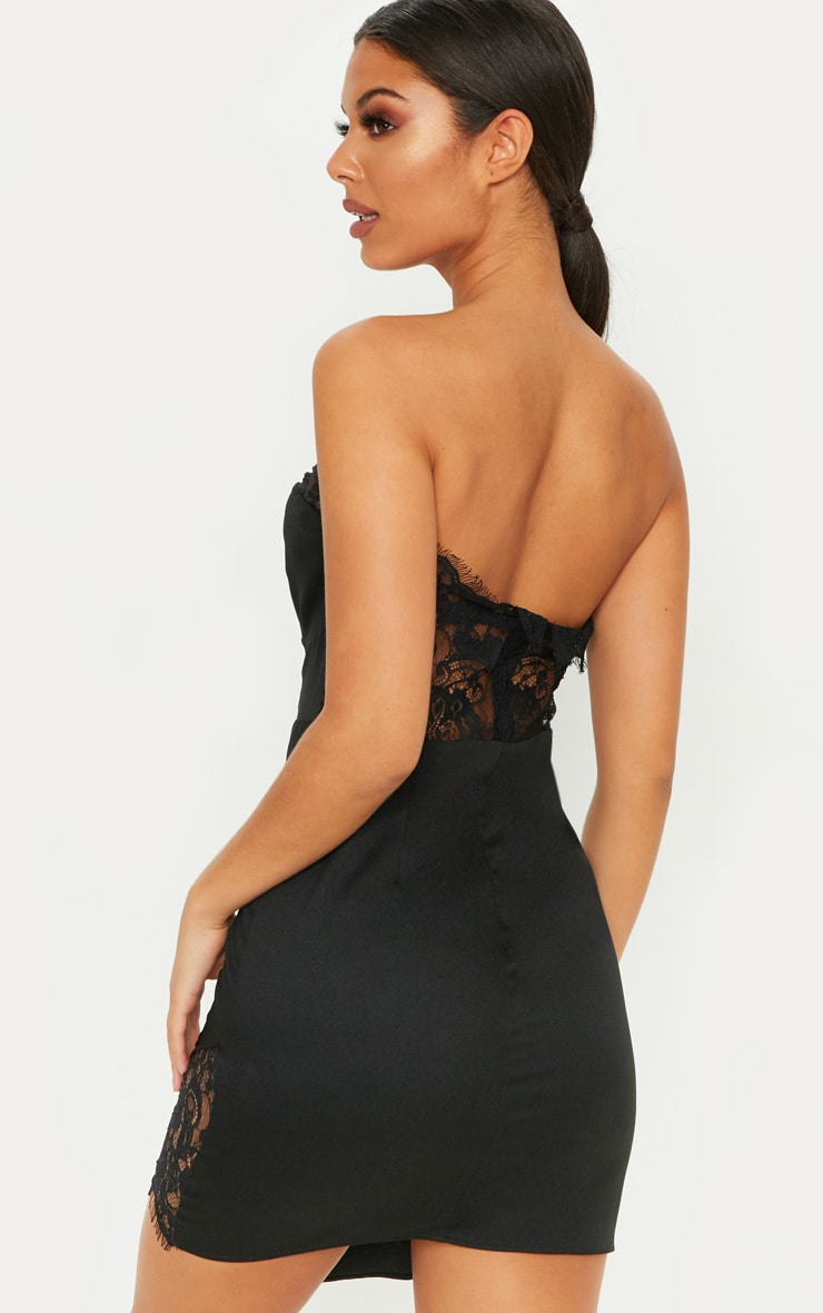 Black Cup Detail Lace Insert Bodycon Dress 2