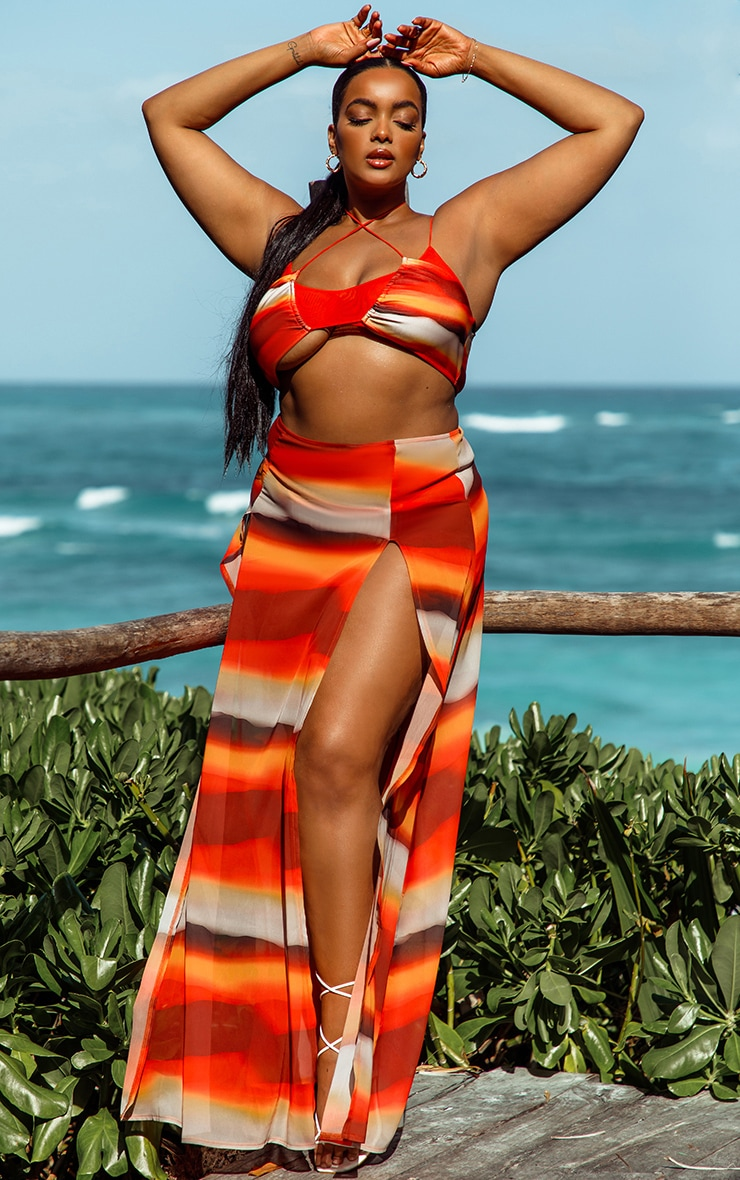 Plus Orange Ombre Double Split Beach Maxi Skirt 1