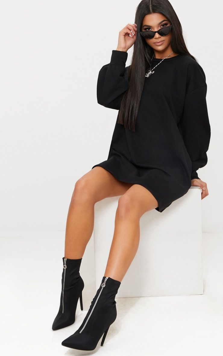 Black Oversized Sweater Dress 5