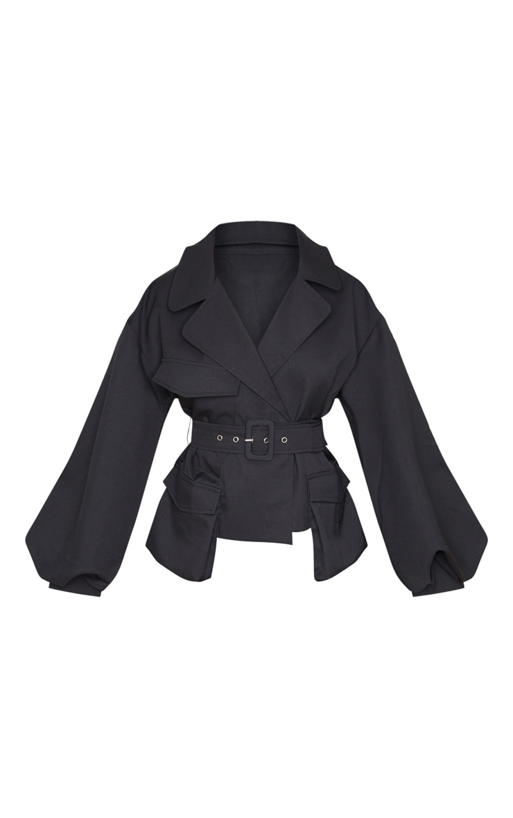 Black Woven Puff Sleeve Belted Jacket 3