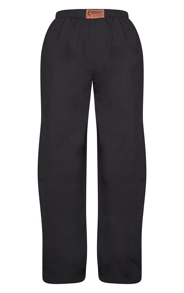 PRETTYLITTLETHING Black Badge Detail Cotton Wide Leg Trousers 5