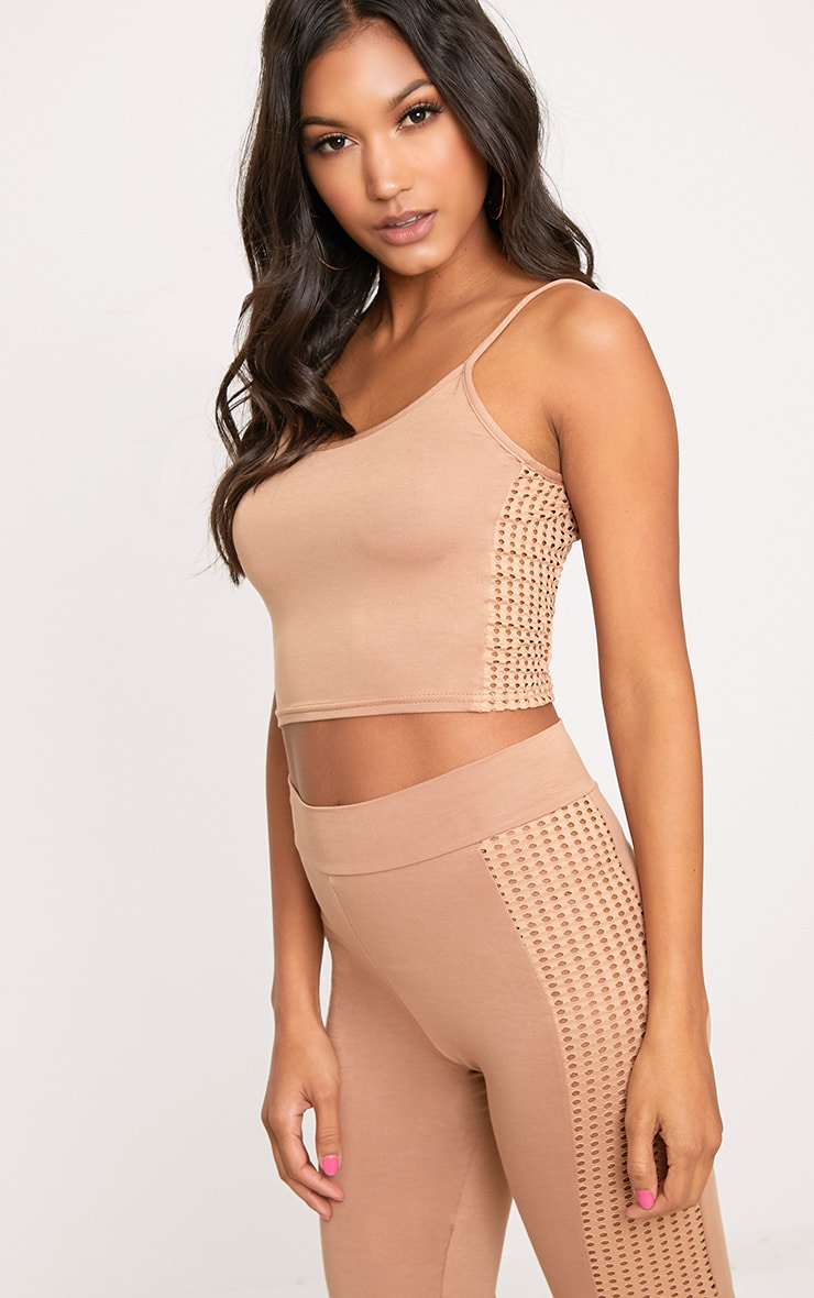 Camel Fishnet Side Cami Crop Top  1