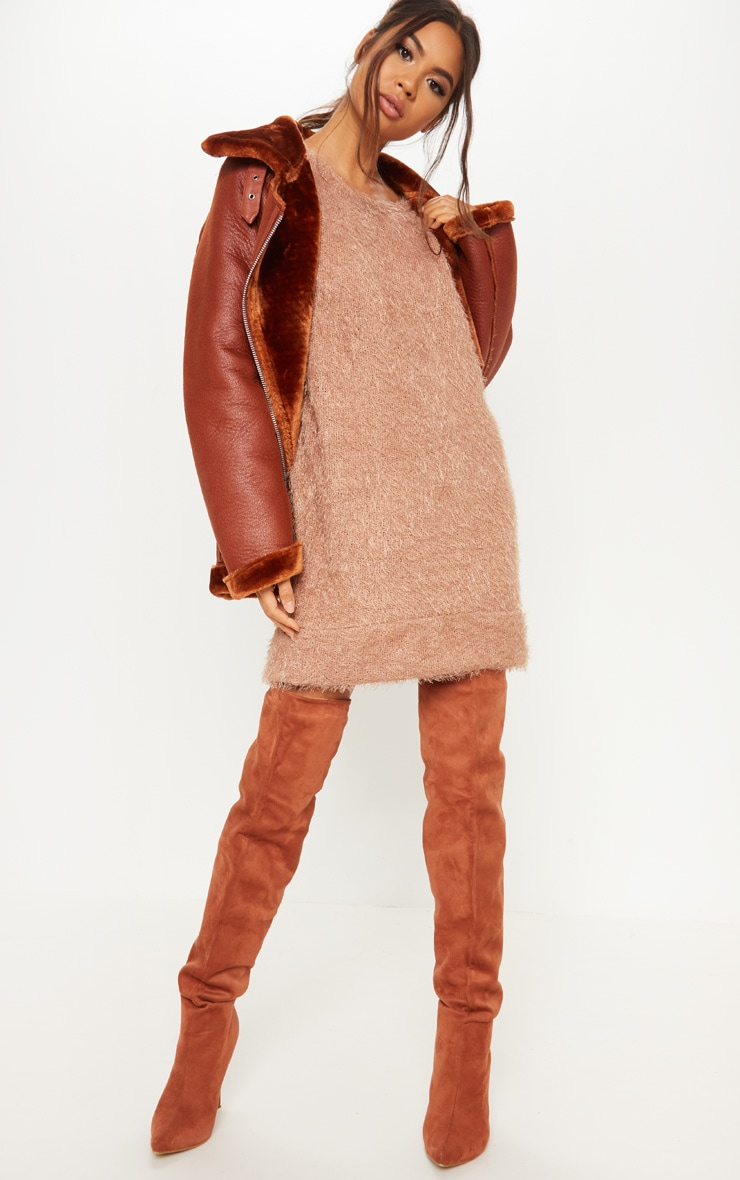 Camel Eyelash Jumper Dress