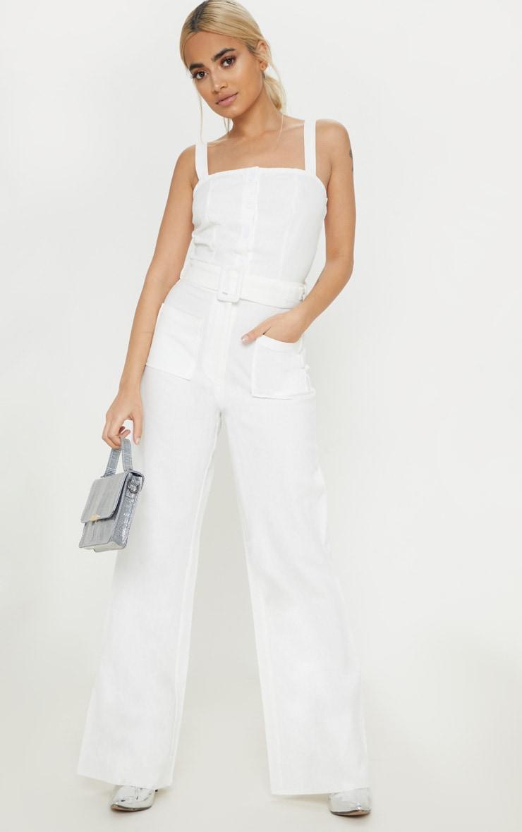 Petite White Wide Leg Square Pocket Button Down Jumpsuit 4