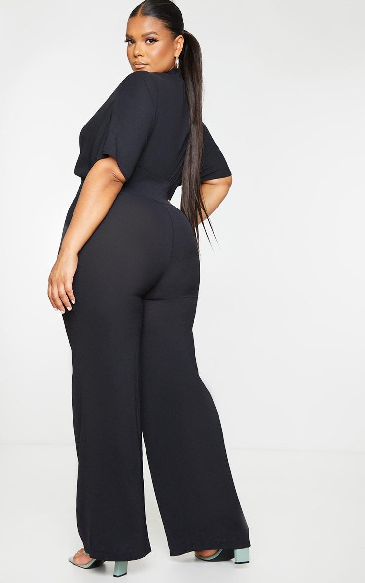 Plus Black Plunge Wrap Top Jumpsuit 2