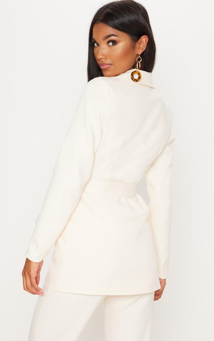 Cream Belted Longline Blazer  2
