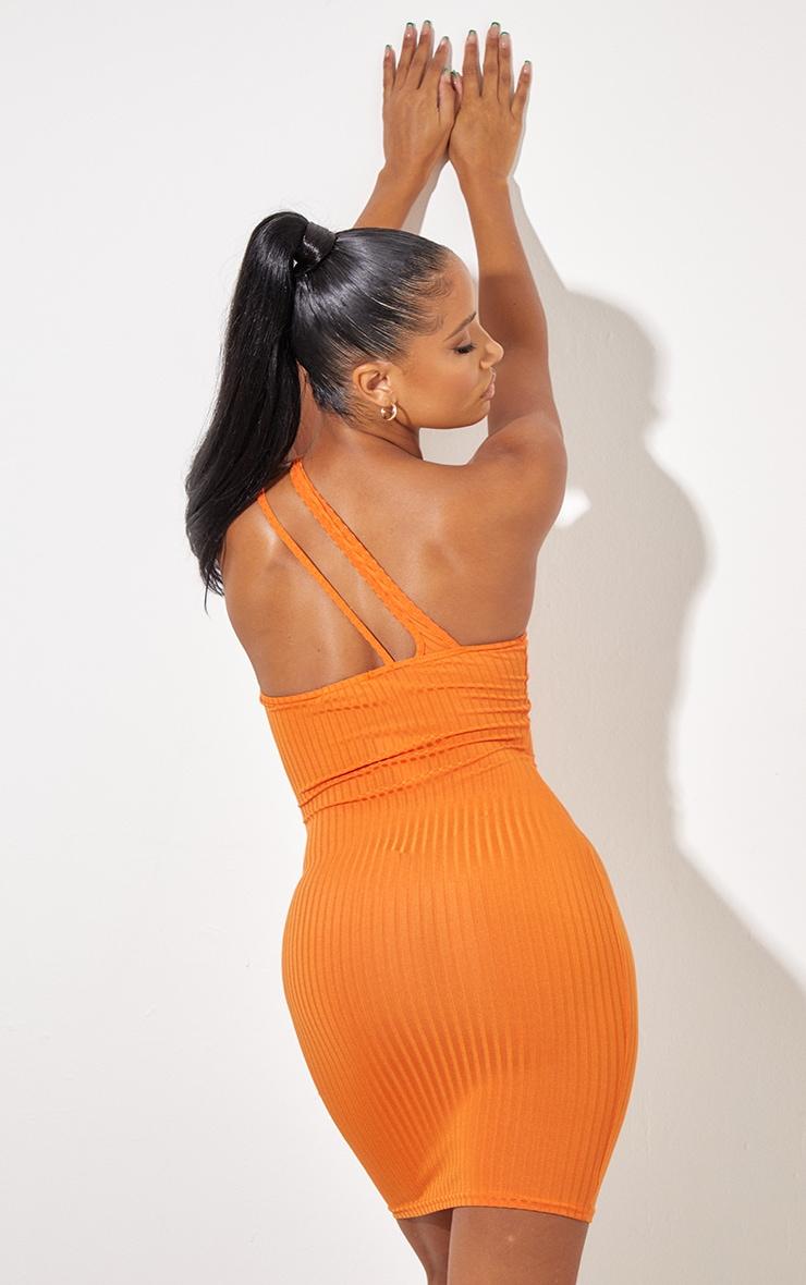 Bright Orange Asymmetric Strap Detail Dress 3