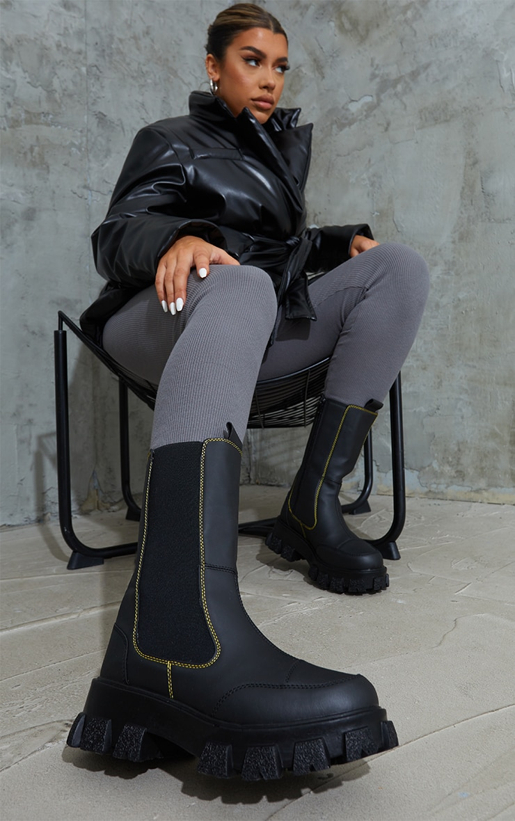 Black Chunky Cleated Sole Calf High Chelsea Boots