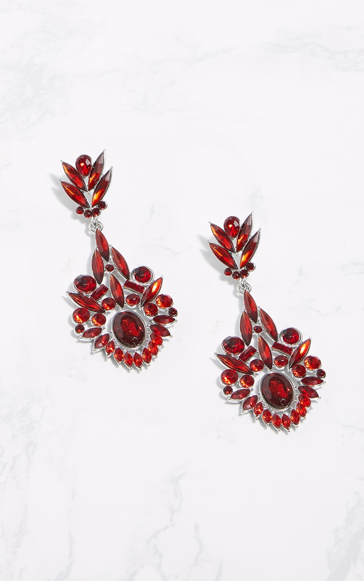 Red Diamante Detail Drop Earrings 3