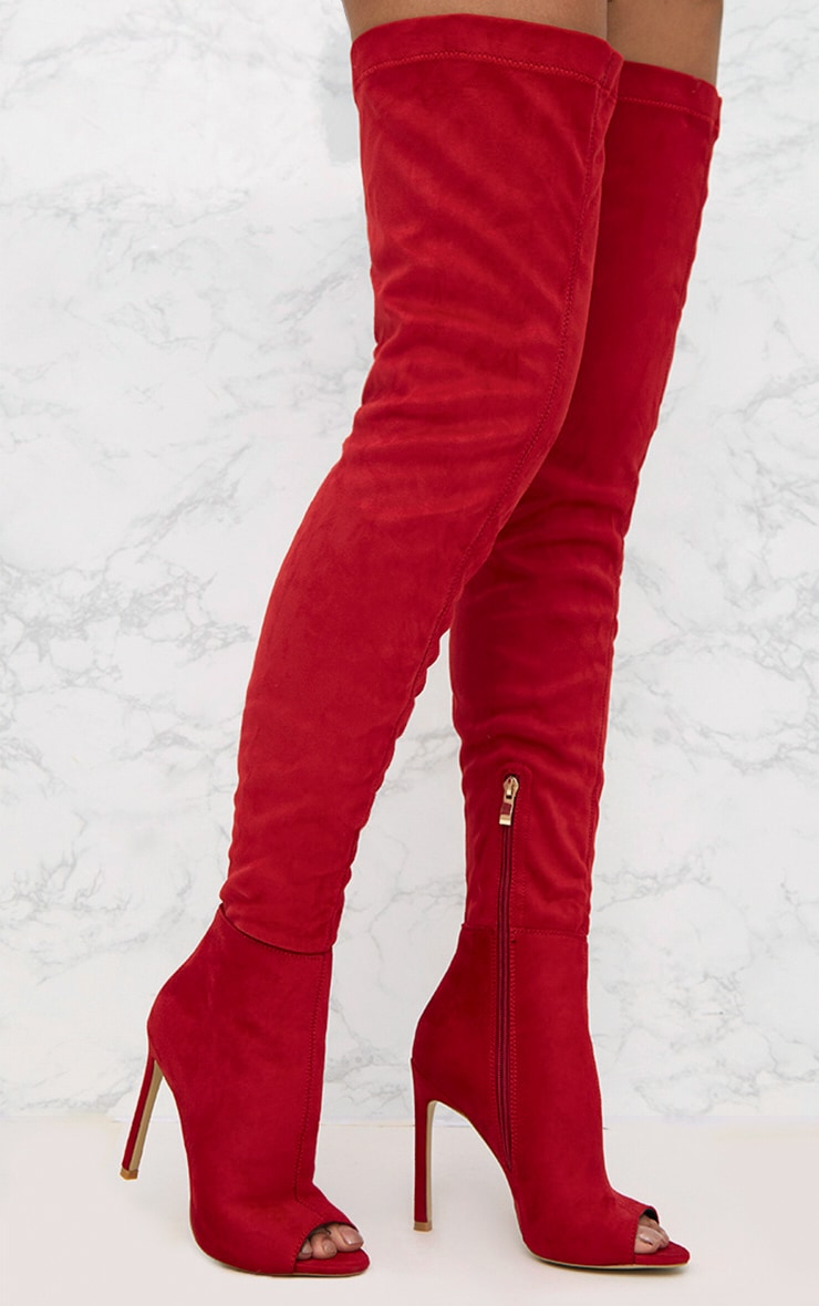 827e268aea4 Red Faux Suede Thigh High Peep Toe Heeled Boots image 1