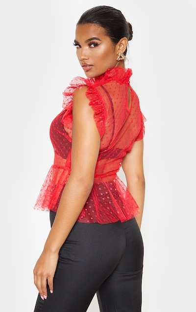 Red Dobby Mesh High Neck Frill Top