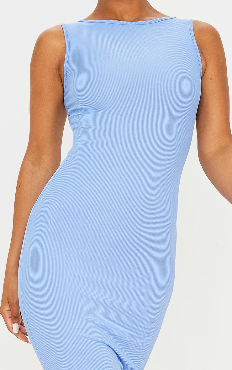 Blue Ribbed Midi Dress 4