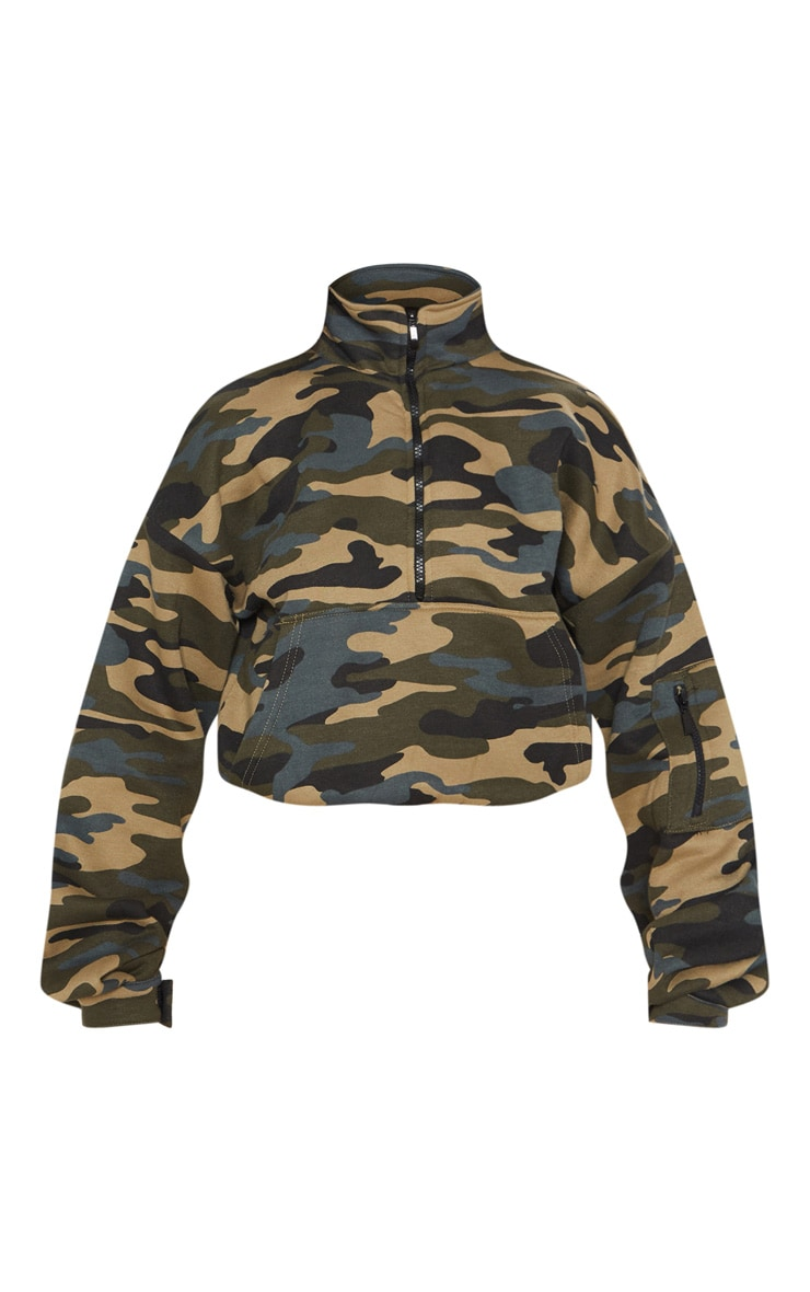Green Camo Oversized Zip Front Sweater 3